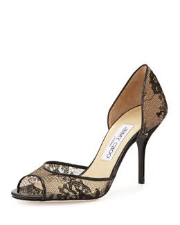 Jimmy Choo Lien Lace d'Orsay Pump, Black