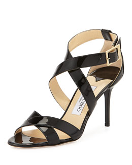 Jimmy Choo Louise Crisscross Patent Leather Sandal, Black