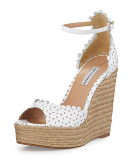 Tabitha Simmons Harp Perforated Scalloped Leather Wedge Sandal, White