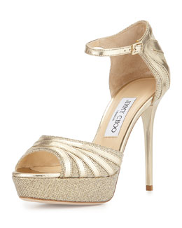 Jimmy Choo Deema Metallic Ankle-Strap Sandal, Gold