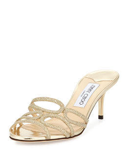 Jimmy Choo Lentar Glittered Leather Mule, Gold