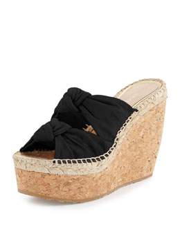 Jimmy Choo Priory Suede & Cork Wedge