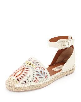 Valentino Floral-Embroidered Ankle-Wrap Espadrille, Ivory