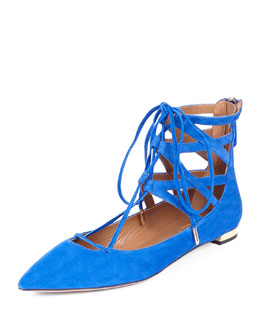 Aquazzura Belgravia Caged Suede Lace-Up Flat, Royal Blue