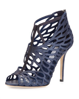 Jimmy Choo Fyonn Shimmer Caged Bootie, Navy