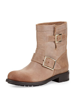 Jimmy Choo Youth Brushed Leather Boot, Beige