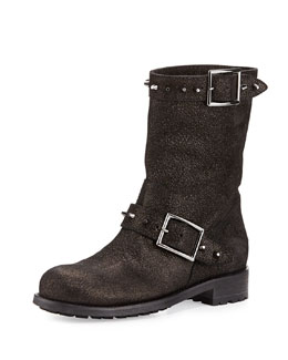 Jimmy Choo Dash Metallic Spiked Biker Boot, Anthracite