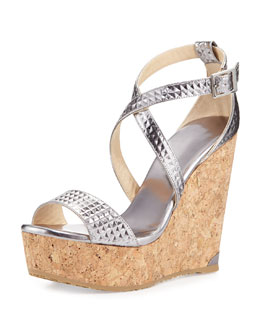 Jimmy Choo Portia Mirror Leather Wedge Sandal, Steel