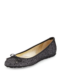 Jimmy Choo Walsh Glittered Ballet Flat, Black/Anthracite