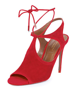 Aquazzura Joanna Cutout Wrap-Around Ankle Bootie, Red