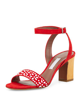 Tabitha Simmons Gia Floral-Beaded Crisscross Sandal, Red