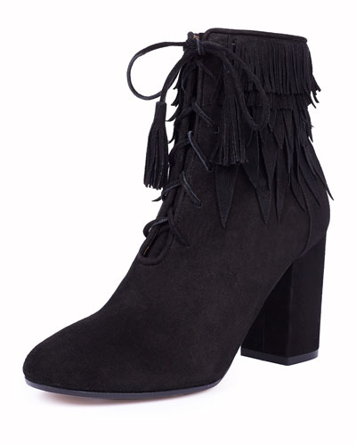 Woodstock Fringe Lace-Up Bootie, Black