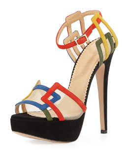 Charlotte Olympia Geometric Platforms Multicolor Suede Sandal
