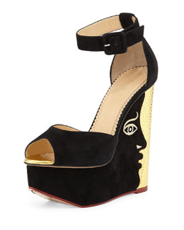 Charlotte Olympia Two-Faced Suede & Metallic Leather Platform Sandal