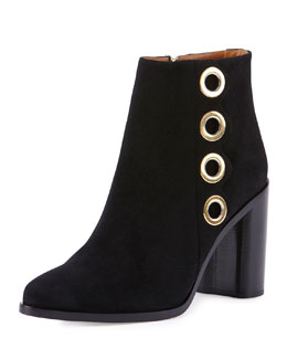 Chloe Flo Grommet-Trimmed Suede Ankle Bootie