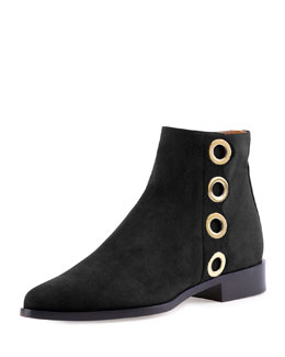 Chloe Flo Flat Grommet-Trimmed Suede Ankle Bootie