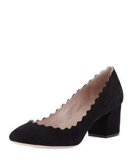 Chloe Lauren Scalloped Suede Pump, Black