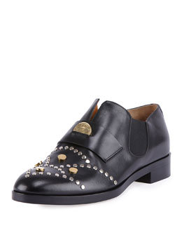 Chloe Glory Studded Leather Penny Loafer