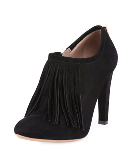 Chloe Fringe-Trimmed Suede Ankle Bootie