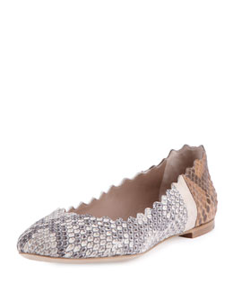 Chloe Lauren Scalloped Python Ballet Flat, Natural/Tan