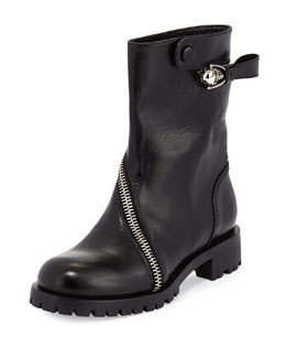 Skull Zip-Around Leather Mid-Calf Boot