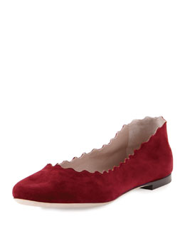 Chloe Scalloped Suede Ballerina Flat, Rubis Red