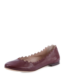 Chloe Scalloped Leather Ballerina Flat, Burgundy