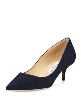 Jimmy Choo Aza Suede Kitten-Heel Pump