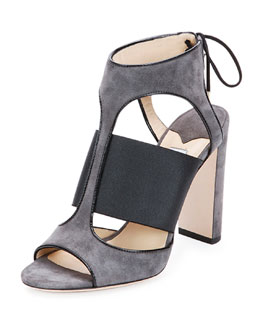 Jimmy Choo Moira Suede Ankle-Tie Sandal, Black/Gray