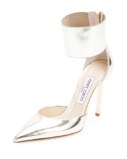 Jimmy Choo Trinny Ankle-Cuff d'Orsay Pump, Champagne