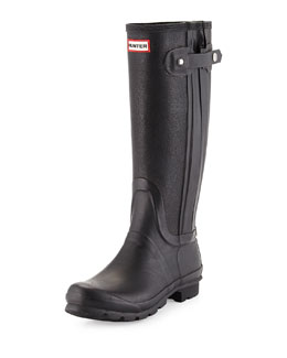 Hunter Leather & Rubber Slim Leg Rainboot, Black