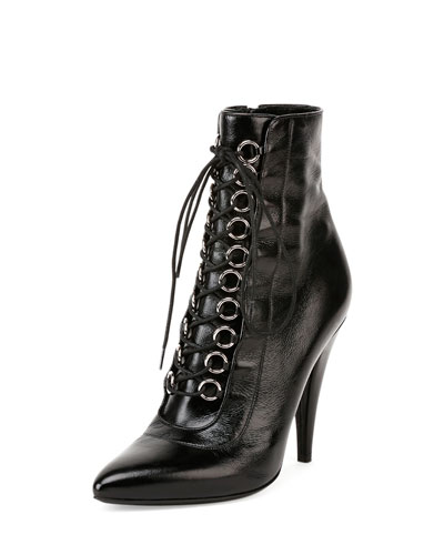 Fetish Leather Lace-Up Bootie, Black