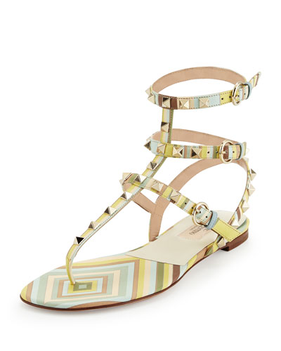 Rockstud Striped Leather Gladiator Sandal, Green Tea