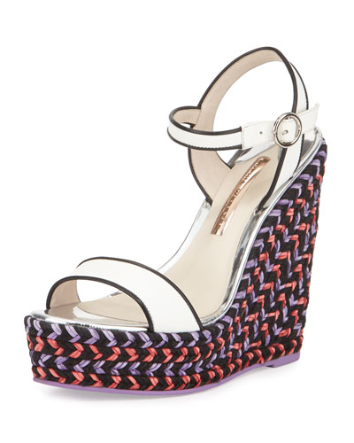Lucita Leather Espadrille Wedge Sandal, White/Multi