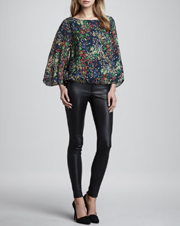 Alice + Olivia Lucay Printed Bell-Sleeve Top & Leather Leggings