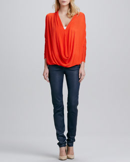 Alice + Olivia Janie Draped Knit Top & Leather Zip-Front Leggings