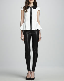 Alice + Olivia Clementine Contrast Peplum Blouse & Leather Leggings
