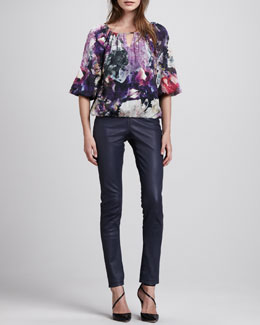 Alice + Olivia Tama Crystal-Print Blouse & Leather Zip-Front Leggings