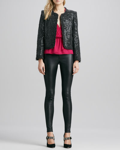 Kidman Sequined Box Jacket, Abigayle Crossover Tank & Leather Leggings