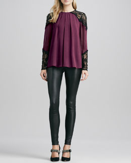 Alice + Olivia Danyelle Lace-Trimmed Top & Leather Leggings