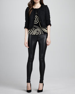 Alice + Olivia Kidman Tweed Fringe Jacket, Christina Pearly-Bead Top & Leather Leggings
