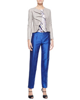 Giorgio Armani Ruffled Snap-Front Leather Jacket, Bias-Cut Printed Silk Blouse & Tapered Silk Mikado Pants