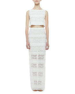 Alice + Olivia Cropped Tiered Lace Tank & Ettley Tiered Lace Maxi Skirt