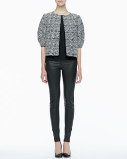 Alice + Olivia Dunn Printed Boxy Jacket, Short-Sleeve Slub Tee & Leather Leggings