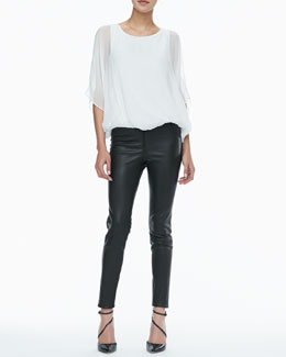 Alice + Olivia Sheer-Sleeve Batwing Top & Leather Leggings