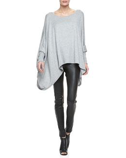 Alice + Olivia Slub Boat-Neck Cape Tee & Leather Leggings