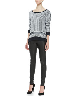 Alice + Olivia Two-Tone Knit Sweater & Leather Leggings