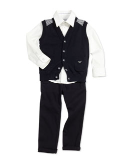 Armani Junior Knit Button-Down Vest, Stretch-Poplin Button-Down Shirt & Twill Dress Pants