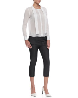 J Brand Ready to Wear Ntalya Long-Sleeve Blouse & Davis Cropped Trouser