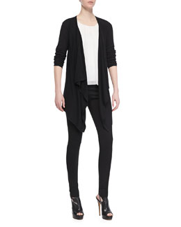 Alice + Olivia New Drape Long-Sleeve Wrap, Gathered Silk Tank Top & Seamed-Detail Combo Leggings